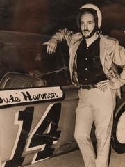 Dude Hannon is pictured with his race car in 1976.