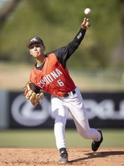 Bryan Webb pitches against Desert Vista on Tuesday in Tempe.