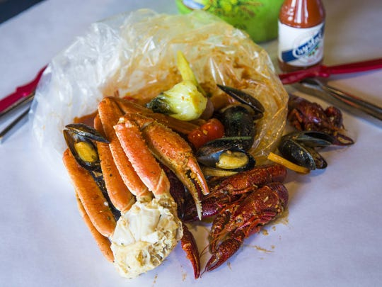 The Monday mixed bag (snow crab, sausage, vegetables, crawfish, mussels) from the Angry Crab Shack.