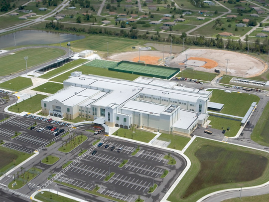An artist's rendering of Bonita Springs High School.