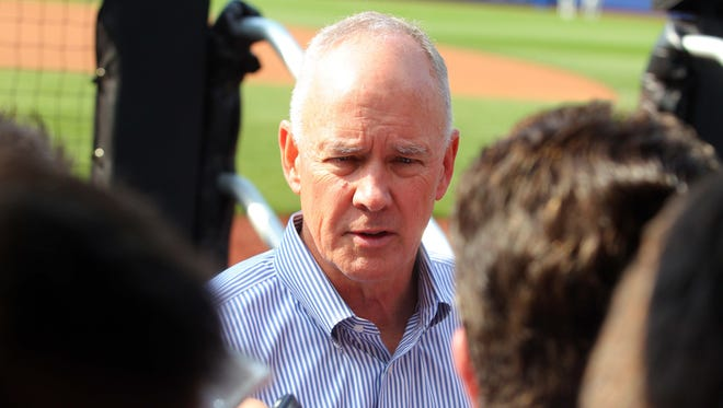 New York Mets general manager Sandy Alderson talks to the media before a game against the Pittsburgh Pirates at Citi Field on May 27, 2014.
