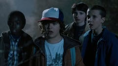 Millie Bobby Brown (far right), Finn Wolfhard, Gaten