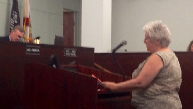 Christine Kane of Palm Bay thanks the Brevard County Commission for its support on the issue of regulating plastic bags.