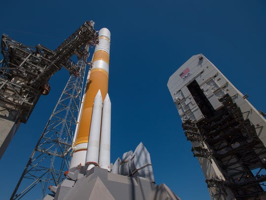 United Launch Alliance's Delta IV rocket stands on the pad at Launch Complex 37 ahead of the WGS-9 launch on Saturday, March 18, 2017.