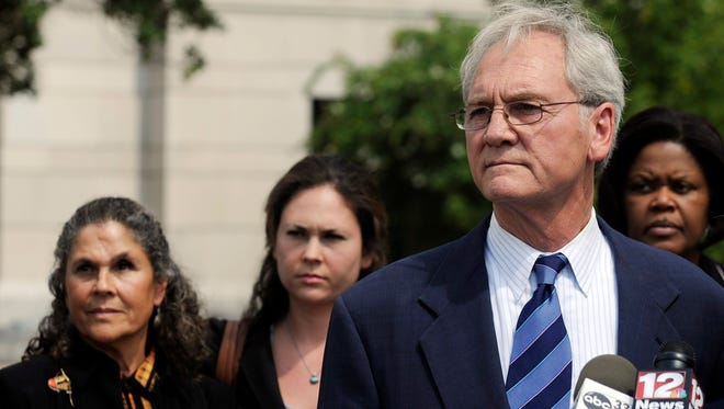 In this Aug. 3, 2012, file photo, former Alabama governor Don Siegelman speaks to the media outside the Federal Courthouse in Montgomery, Ala., after being sentenced to 78 months in prison. A former aide to the governor said Siegelman could be released from prison in Louisiana on Wednesday, Feb. 8, 2017.