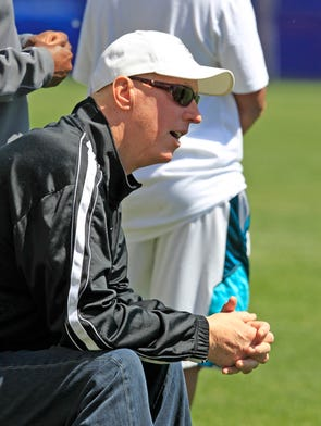 Buffalo Bills Hall of Fame quarterback Jim Kelly watches practice on Thursday at Orchard Park.