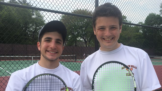 Noah Mandelman, left, and Ben Steinberg helped Pascack Hills tennis win a North 1, Group 1 semifinal match against Cresskill on Thursday, May 17, 2018 at Montvale.
