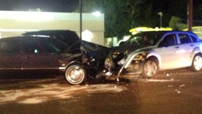 The Jackson Police Department is investigating a head-on collision that may have been the result of occupants of two vehicles trading gunfire.