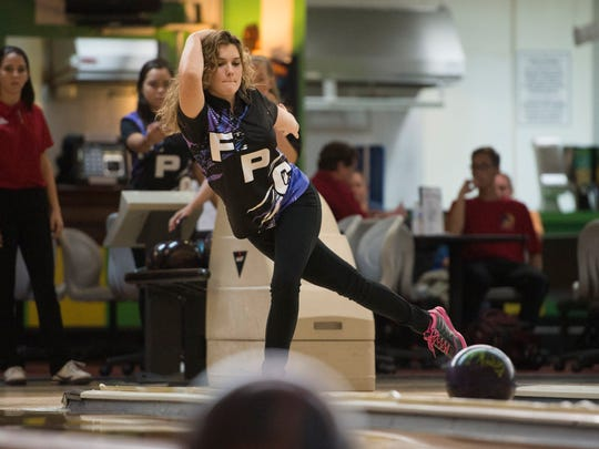 Fort Pierce Central's Kate Schneider bowls during their match against Vero Beach at Saint Lucie Lanes on Thursday, August 24, 2017 in Port St. Lucie.