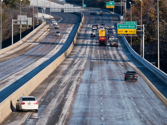 Icing on the I-65 Bridge over the Alabama River in