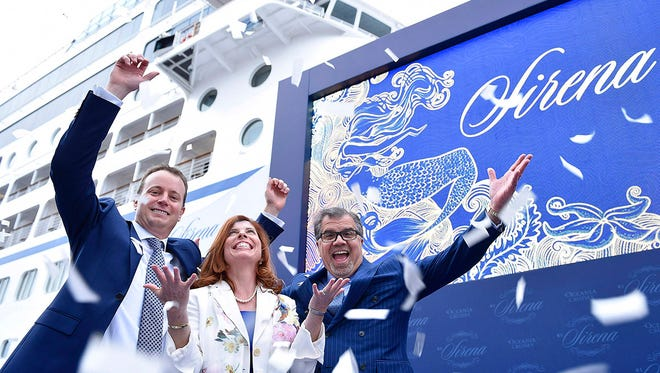 Oceania Cruises president Jason Montague (left), chef Claudine Pepin and Norwegian Cruise Line Holdings CEO Frank Del Rio at the christening of Oceania's Sirena on April 27, 2016.