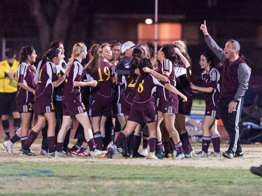 Tulare Union celebrates their win over Tulare Western in an East Yosemite League high school girls soccer game on Wednesday, February 7, 2018.