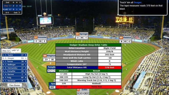 A screenshot of Corey Seager's second-inning grand slam in Game 1 of USA TODAY Sports' Simulated World Series.