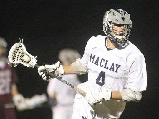 Maclay's Garritt Schwarz runs the offense during his team's district semifinal on Tuesday night against Chiles. Schwarz had four goals and five assists in a 14-1 win.