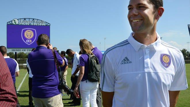 OCB head coach Anthony Pulis talks with the media on the field at Eastern Florida State College. Officials today announced that Melbourne will be the home of OCB, Orlando City's new USL team.
