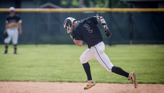 Daleville's TJ Price rounds second base in a game against Cowan on May 26, 2016. Daleville will attempt to reach state for the first time in history when it plays Fort Wayne Blackhawk Christian in the Class A Plymouth Semistate Saturday.