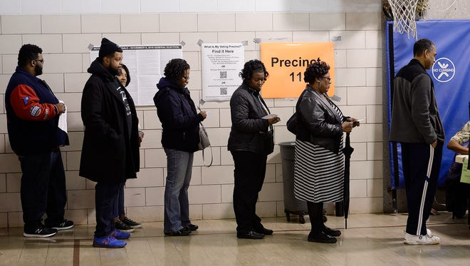 A long line of voters wait in line to vote at precinct 11 Tuesday, Nov. 6, 2018,  at Adler Elementary School in Southfield.