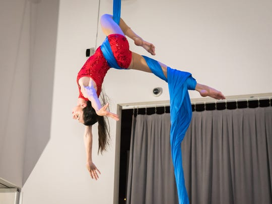 A performer executes a move at Westchester Circus Arts'
