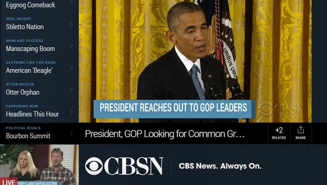 A screen shot from the new CBSN online news channel.