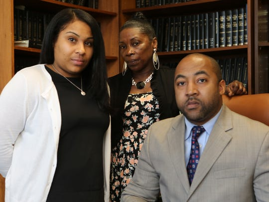 Erica Melvin, Lydia McNulty and Jared Rice in Rice's law office in New Rochelle. Melvin's fiancé and McNulty's son, Rashod McNulty, died in the Westchester County jail in January 2013.