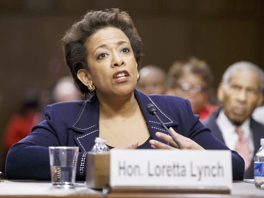 In this Jan. 28, 2015 file photo, Attorney General nominee Loretta Lynch testifies on Capitol Hill in Washington. Lynch has won confirmation to serve as the nation's attorney general, ending months of delay. The vote was 56-43 in the Senate Thursday.
