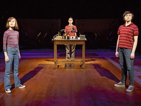"FILE - This photo provided by O&M Co shows Sydney Lucas as Small Alison, Beth Malone as Alison, and Emily Skeggs as Medium Alison in ""Fun Home"" at Circle in the Square Theatre in New York."