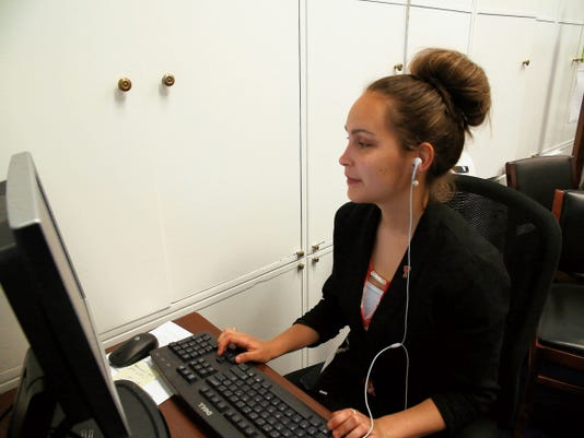 El Paso native Ashley Melero at her desk in the Washington, D.C., office of Rep. Sheila Jackson Lee, D-TX