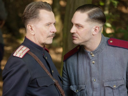 """In this image released by Lionsgate, Gary Oldman, left, and Tom Hardy appear in a scene from the film, """"Child 44."""""""