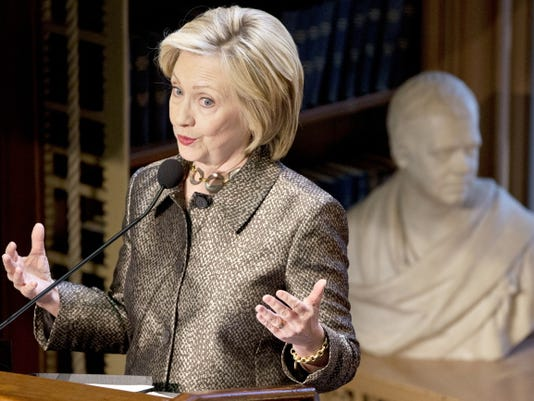 Democratic presidential candidate Hillary Rodham Clinton speaks on Wednesday before presenting The Hillary Rodham Clinton Awards for Advancing Women in Peace and Security, in the Riggs Library at Georgetown University in Washington.