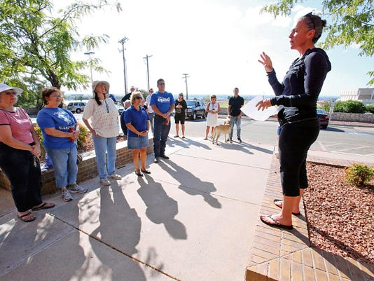 Rudy Gutierrez—El Paso Times El Paso school district board member Susie Byrd, right, talks with volunteers during the kick-off of the Yes For Kids campaign Saturday at the Paso del Norte Children's Development Center at 1101 E. Schuster.