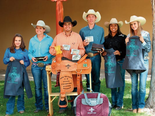 Courtesy Photo   Pictured from left are members of the 2015  Luna County 4-H Rodeo Team. They are: Cierra Wood, MacKenzie Head, Raul Perea, Tee Pickett, Deanna Lugo and Kevi McWright.