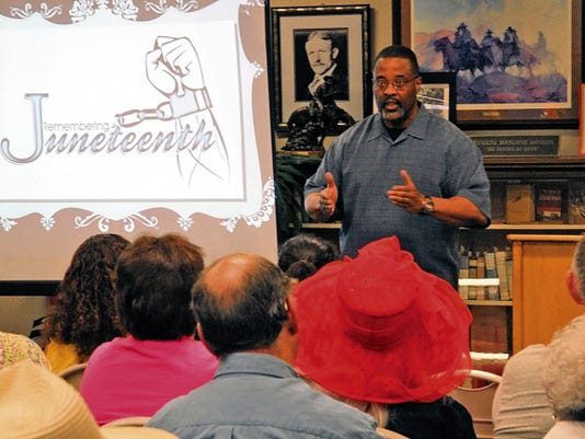 Ron Peeler talked about the history of slavery and Juneteenth during the NAACP and Alamogordo Friends of the Library's Juneteenth event Saturday.