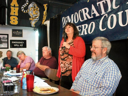 Chairwoman Nadia Sikes speaks to the Democratic Party of Otero County during their June meeting, which is held on the first Tuesday of every month.