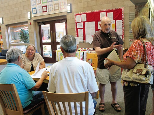 Brent Michaels, of Tularosa, spoke to members of the community on Wednesday about the Tularosa Basin Downwinders and the surveys they are collecting about resident's health information.