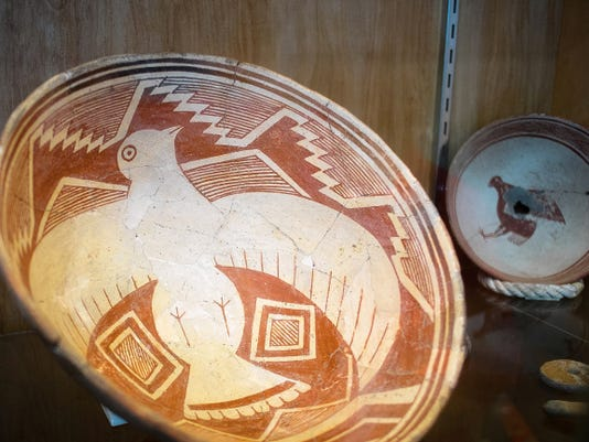 This exhibit of Mimbres pottery is among Deming's Luna Mimbres Museum's large collection of ancient pottery and artifacts found in the region.