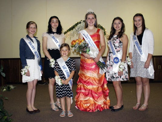 Members of the new Franklin County dairy royalty team include, from left, Ella Heckman, Josephine Hughes, Stella Martin, Grace Crider, Selina Horst and Danessa Myers. Court members not present are Haley and Emily Weller.
