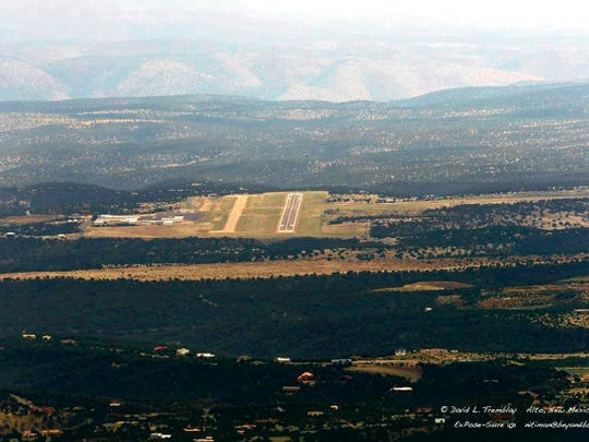 An aerial shot of Sierra Blanca Regional Airport on the road from New Mexico Highway 48 to Fort Stanton.