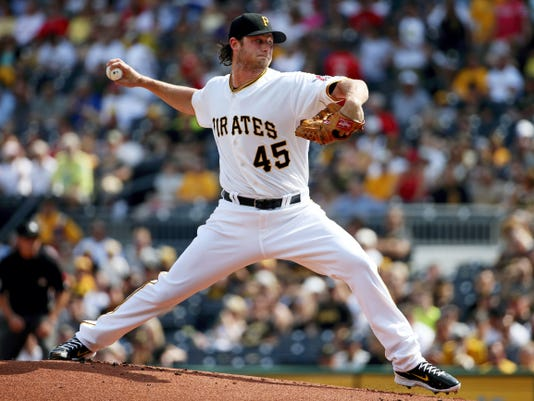 Pittsburgh Pirates starting pitcher Gerrit Cole delivers in the first inning of Saturday's game against the Philadelphia Phillies.