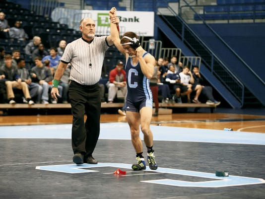 Courtesy photo by Russ Pace, The Citadel   Joaquin Marquez, a 2010 Las Cruces High School graduate, ended his college wrestling career at The Citadel as the first wrestler from Las Cruces to compete in the Division I NCAA Tournament.