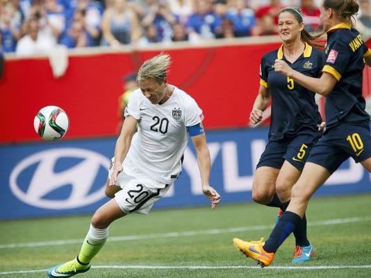 United States' Abby Wambach's (20) header goes wide against Australia during the first half of Monday's Women's World Cup match in Winnipeg, Manitoba. The U.S. earned a 3-1 victory.