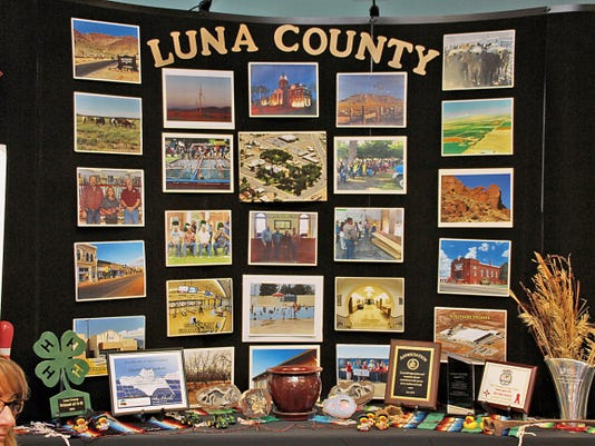 Bill Armendariz — Headlight Photo   Luna County officials displayed a poster board and table highlighting some of the finer points of living in Luna County. This board and table were set up during the New Mexico Legislative Interim Jobs Council meeting at the Mimbres Valley Special Events Center, 2300 E. Pine St. The meeting was held last Monday.