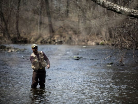 Brad Thompson, of Gettysburg, casts into the waters of the Conewago Creek in Butler Township on April 7 while fishing for trout. The opening day of trout season was Saturday and Thompson, who's been fishing every day except Saturday, has caught a few but no keepers yet.