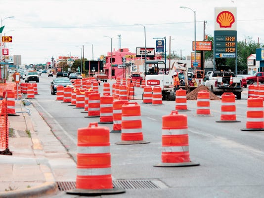 Orange construction barrels will crowd White Sands Boulevard for the next couple months while workers replace water service lines buried beneath the roadway. Work began just south of Tenth Street and will continue toward First Street in roughly two block sections.