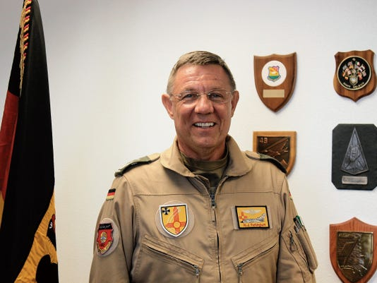 Commanding Director of the German Air Force Flying Training Center Col. Heinz J. Ferkinghoff stands in his office at Holloman Air Force Base Tuesday, August 4. Ferkinghoff discussed the impact of GAF on Holloman and the German community as  a whole.
