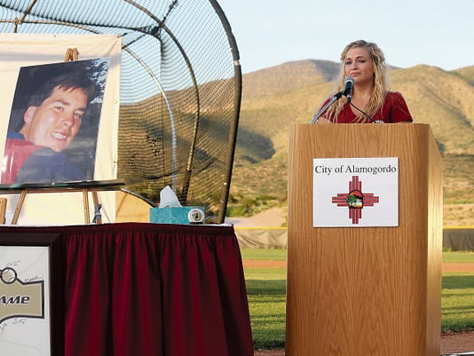 Jacqueline Devine -- Daily News Matt McNeile's daughter, Madison, shared a few memories of her late father at his memorial service at the Griggs Sports Complex Pupfish Aquarium Friday evening.