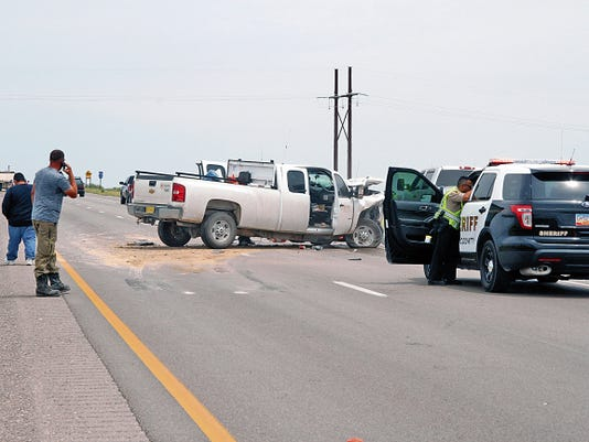 SARAH MATOTT - CURRENT-ARGUS   A truck versus semi accident on U.S. Highway 285 caused one man to be injured on Saturday morning. A patrolman for the New Mexico State Police believed the cause of the accidnet was simply the driver of the truck not paying attention.