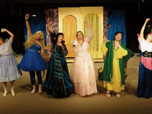 "Photo Courtesy of Greg Van Soest.   The fairy godmothers portrayed by Mannie Bemis, Pam Cox, Sharon McIntire, Delaina Van Soest, Sabrina Acosta, and Melissa Lawrence-Bridges, sing about the evils of Vilenity, the wicked queen-to-be in the musical ""Snow Off-White."""
