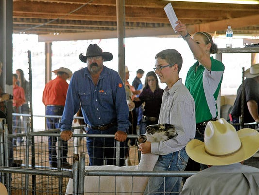 Taylor Martinez waits in the sell ring with his Class 3, second-place market lamb, which was sold Saturday at the Junior Livestock Auction at the Eddy County Fair.