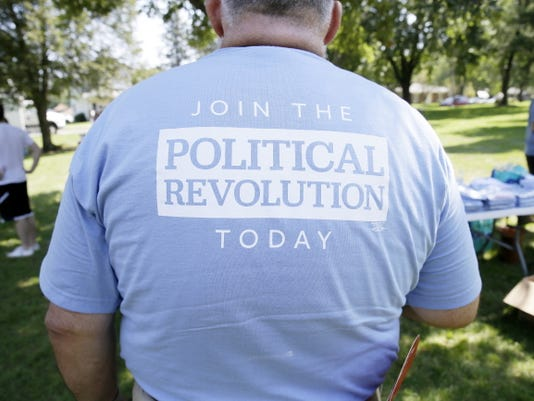 The back of a shirt of a supporter for Democratic presidential candidate, Sen. Bernie Sanders, I-Vt., during a town hall meeting Sept. 3 in Grinnell, Iowa.