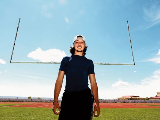Junior running back and safety Alex Shay stands for a photo Monday on the football practice fields at Piedra Vista High School in Farmington.